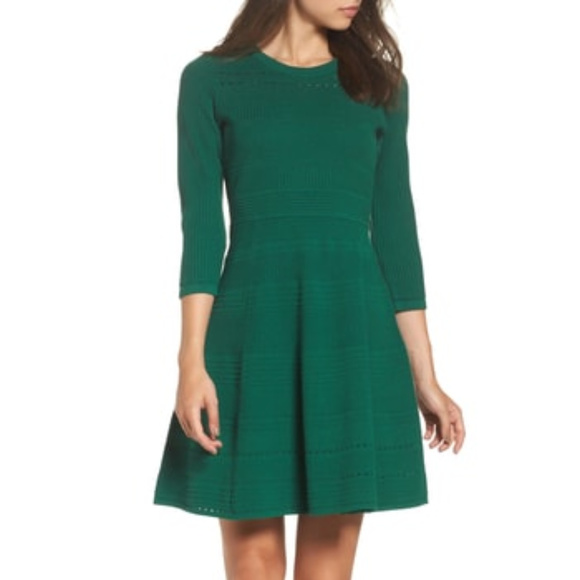 Eliza J Dresses Fit Flare Sweater Dress Pine Green Xl Poshmark